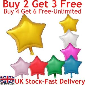 "18"" Star Shape Foil Balloons For Party Wedding Birthday Float With Helium UK"