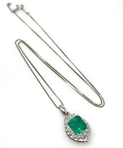 2.34 ct Emerald with Pave Diamond Pendant Necklace in Platinum--HM2142S5