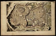c1625 - Real Antique Copper Engraving Jerusalem - Hand-painted Small Map