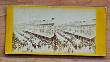 More details for very rare stereoview of an orange parade in princess st,  kingston, canada c1870