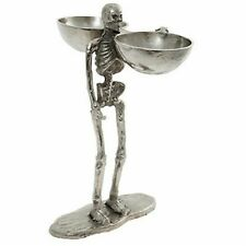 Large Skeleton Halloween Party Silver Skull 41cm Ornament Candy Holder Bowl
