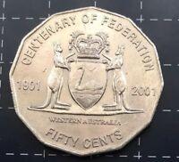 2001 AUSTRALIAN 50 CENT COIN CENTENARY OF FEDERATION - WESTERN AUSTRALIA - W.A