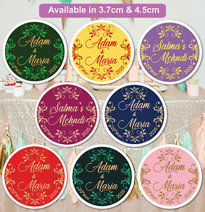 Personalised Wedding MEHNDI Celebration Stickers Labels GLOSS MATT in Q24 & 35