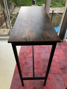 Narrow Rectangular Bar Table, Kitchen Table, Pub Dining High Table, Sturdy Metal