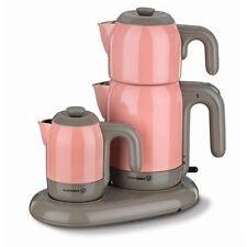 Korkmaz A353-02 Teekocher Teemaschine und Mokkakocher Set Rosa Mia Cay Kahve
