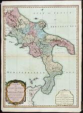 ZANNONI Antq&XRare Lt 18thC 1799 MAP [1807] NEW MAP OF SICILY, KINGDOM OF NAPLES