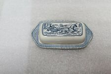 Vintage Currier and Ives Butter Dish Horse and Buggy with Cover Blue & White