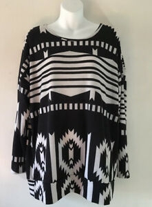 Women's Top Say What? Black & White Long Sleeved Shirt Plus Size 1X