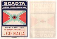 SCADTA Barranquilla to Cienaga Luggage Tag - Colombia / Ecuador / Panama / Peru