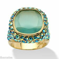 14K GOLD GP BEZEL CUT  GREEN CATS EYE AURORA BOREALIS RING SIZE 5 6 7 8 9 10