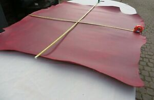 """RED """"PULL UP"""" LEATHER HIDE - 1.5mm THICK - 48"""" X 42"""" - OLD STOCK - CLEARANCE"""