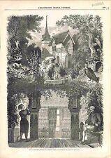 Le château de Monté-Cristo d'Alexandre Dumas Parc Salon Arabe GRAVURE 1848