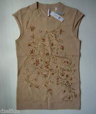 NWT Iisli Crystal Swarovski Embroidered Cashmere Tee Top Size P