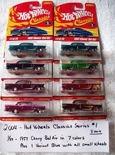 2004 Hot Wheel Classics Series 1 1/25 1957 Chevy Bel Air 8 Car Set in 7 Colors