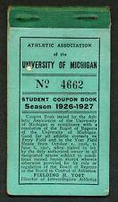 1926 MICHIGAN WOLVERINES Season Ticket Booklet, Football & Baseball