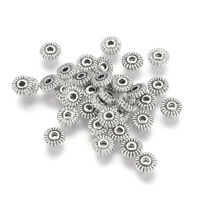 200 Tibetan Alloy Corrugated Donut Metal Beads Tiny Antique Silver Spacers 5mm