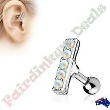 316L Surgical Steel Tragus/Cartilage Stud with 5 White Opal Set 2 mm x 10 mm Bar