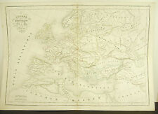L'Europe sous Charlemagne 771-814 carte ancienne 1838 Ancient map 45cm 38cm