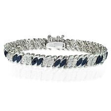 Silver Tone Treated Blue Diamond Accent Marquise S Tennis Bracelet in Brass