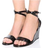 $398 Size 6.5 Stuart Weitzman Backdraft Black Ankle Strap Wedge Womens Sandals
