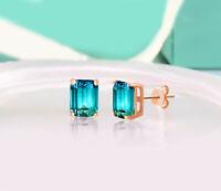ORROUS & CO 18K Rose Gold Plated Cubic Zirconia Emerald Cut Halo Stud Earrings
