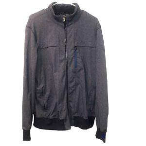 LULULEMON Athletica Men's XL Full Zip Jacket Zip Pockets Track Stretch Gray Blue