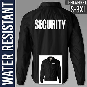 Black Security Jacket / S to 3XL / Water Resistant / Guard / Uniform / Staff