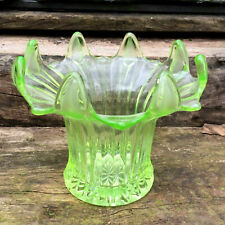 "ART DECO SOWERBY LARGE GREEN URANIUM GLASS No2505 ""SALAD""FLOWER VASE CIRCA1933"