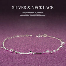 Girl Women 925 Sterling Silver Crystal Chain Bangle Cuff Charm Bracelet Jewelry