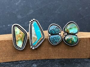 Four Modern Southwestern Sterling Silver Turquoise Rings Southwestern Chic