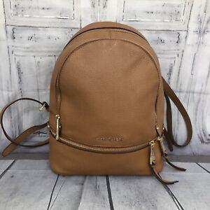 Michael Kors Zip Medium Travel School Brown Acorn Pebble Leather Backpack