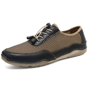 Casual Men's Flat Sneakers Lightweight Breathable Lace-Up Mesh Shoes Oversized
