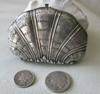 Antique Art Nouveau Engraved Shell STERLING Silver French Coin Purse France TM