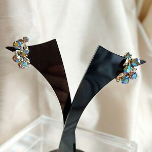 VINTAGE Blue AB Aurora Borealis Clip On Earrings, Curved Floral Design, Kitsch