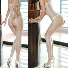 Body Bodystocking Bodysuit Pantyhose offen WEISS CREME transparent glänzend