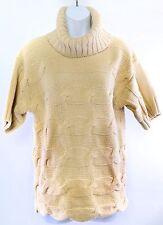 Knit Turtle Neck Sweater Cowl Neck Cache Tan Short Sleeve Womens Medium