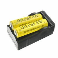 2 Batteries 18650 9800mah Li-ion 3.7V Rechargeable 1 Smart Charger