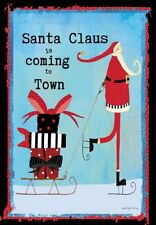 Santa Claus Is Coming To Town - Large Garden Flag Brand New 28x40 Christmas 0063