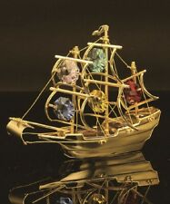 Swarovski Multicolor Crystals Studded Mayflower Ship Figurine 24K Gold Plated