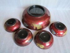 RARE Old Vintage Japanese Hand Painted Black Gold Lacquerware Wood Bowl Set of 5
