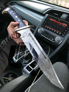 UBR CUSTOM HANDMADE DAMASCUS STEEL HUNTING BOWIE KNIFE WITH DOLLAR HANDLE