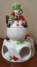 Fitz and Floyd Holly Hat Snowman Pod Pal W/Sugar Pot. Coffee Tea