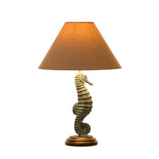 Glitzhome Vintage Farmhouse Wooden Home Desk Table Lamp Night Light Burlap Shade Seahorse