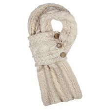 Aran Traditions Cable Wrap Button Oatmeal Beige Winter Warm Scarf Fashion