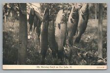 """Morning Fish Catch"" FOX LAKE Illinois CR Childs Pub Rare Antique Fishing 1910s"