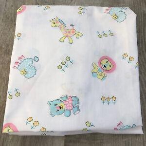 Vintage Crib Sheet Lion Giraffe Bear Lamb Excellent! Pastels Cutter Fabric