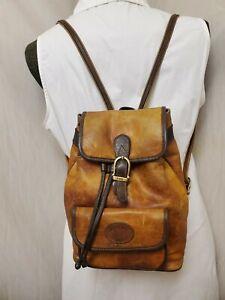 RARE Vtg Leather BACKPACK Distressed LANDI Western BoHo Hippie Bag Brass CUTE