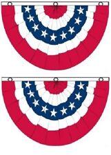 (2 Pack) 3x5 USA American America U.S. Bunting Fan Flag Banner Grommets 5x3