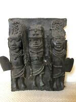 Antique Benin Bronze African Plaque - Old American Collection