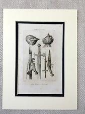 Français Suit de Armure Swords Militaire Casque Antique Gravure Imprimé 1830